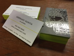 Custom 32pt Silk Laminated cards with Fluorescent Painted Edges and Spot UV Business Cards