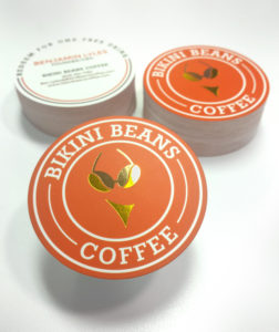Custom Round Foiled Business Cards for Bikini Beans Coffee